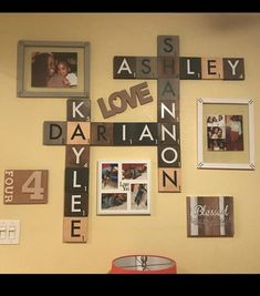 stunning living room wall gallery design ideas page 24 Scrabble Tile Wall Art, Scrabble Letters, Wall Tiles, Wood Letters, Family Wall, Family Names, Family Room, Dream Wall, Cheap Home Decor