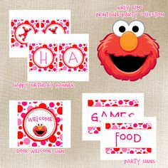 Girly Elmo Printable Party Package by dpdesigns2012 on Etsy, $10.00