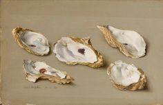 Eliot Hodgkin (1905-1987) -Five Oyster Shells, 1961 Tempera on board (24.8 x 38.2cm)
