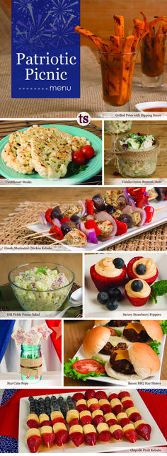 Memorial Day, 4th of July - we've got you covered! Celebrate the red, white and blue with this easy-to-prepare and impossible-to-resist Patriotic Picnic menu.