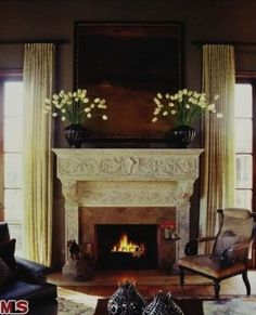 The fireplace at Ryan Seacrest's Casa di Pace.