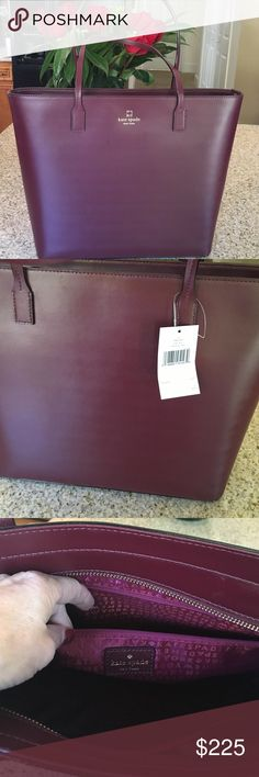 """Kate Spade Handbag Tori Weller Street leather tote handbag!!  Sophisticated and elegant and perfect color for the fall Season Crafted in smooth calf leather Dark wine color exterior Accented with 14K gold plated hardware Dual top handles with a drop of 8 1/4"""" Top zip closure Kate spade wine color signature polyester interior lining Interior: 1 zip pocket and 2 slip pockets Approximate measurements: 14 1/2"""" (L middle) X 11 1/2""""  (H) X 3 3/4"""" (d) kate spade Bags Totes"""