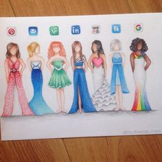 "just a girl who loves drawing♡ on Instagram: ""Social media dresses part 2!! So many of you guys said things like; you forgot vine! You forgot pinterest! So I thought, why not make a part 2? And here it is! Comment which one you like most! Pls tag @kristinawebb @colour_me_creative #lookkristina"""