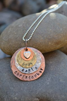 Mother's Metal Stamped Necklace by ArtisticSoles on Etsy, $29.00