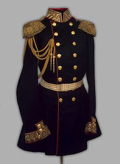 The State Hermitage Museum Alexander II's General Uniform  St Petersburg  Russia. 1855 Cloth, silk, tombac, metal thread and cord, ÜÕÔì, cardboard, brocade and twist; embroidered, stamped, silvered, gilded and plaited. L. of tunic 95 cm, l. of aiguilette 110.5 cm