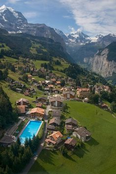 Mountain Village - Wengen, Switzerland - I've actually been there and this picture doesn't do it justice!