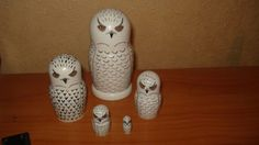 "RARE 5pc hand painted lacquered russian wooden nesting dolls ""SNOWY OWLS"" #Unbranded"