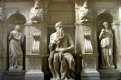Michelangelo sculptues in Rome, Italy | The famous statue of Moses by Michelangelo in Rome's Basilica di San ...