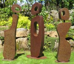 Mild steel #sculpture by #sculptor Chris Rench titled: 'Gathering (Modern abstract Minimalist figurative Steel sculptures)'. #ChrisRench