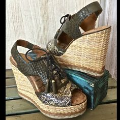 """Anthropologie olive platform wedge sandals NIB 9.5 ANTHROPOLOGIE OLIVE OMBRE WOVEN LEATHER PEEP TOE PLATFORM WEDGE  Basketweave detailed wedge heel and platform with bottom leather and braided stripes   - Peep toe - Lace-up vamp with leather tassels - Snakeskin and woven construction - Slingback strap with elastic band - Padded cork footbed * Leather sole   • By Sam Edelman • Fits true to size   NEW IN BOX  *  SIZE: 9.5 retail price:  $228.00  - Approx. 5"""" heel, 1.5"""" platform  innersole…"""