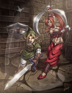 Link with Navi the fairy against a Gerudo Thief in the Gerudo Fortress - The Legend of Zelda: Ocarina of Time