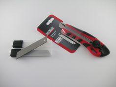 COXT897014 ~ Hochwertiges Teppichmesser +10x 18mm Abbrechklingen, Cuttermesser