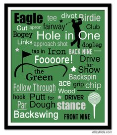 Golf subway art print - Perfect for the golfer in your life! Looks great in a bedroom or a gameroom. #golf #sports #children 11x14 - $23.00