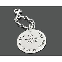 Ein schöner 925 Silber Schlüssel Anhänger mit den Geburtsdaten für Papa.