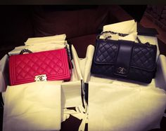 New babes!Chanel new medium boy in red (calf) and elementary chic medium size in navy blue,SO IN LOVE❤️