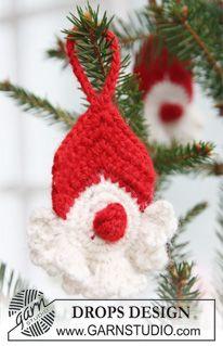 "Hæklet DROPS julenisse i 2 tråde ""Alpaca"". ~ DROPS Design"