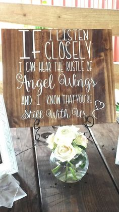 I know from personal experience, honoring loved ones youve lost at your wedding is one of the most important aspects of your special day. This wooden sign can be further personalized to reflect a special characteristic of your lost loved one. For example the heart at the bottom right is optional and will not be included unless otherwise requested. You may also request a different image in its place. If your looking for a special way to pay tribute to a loved one this sign would be the…