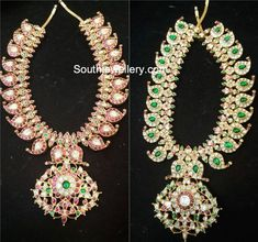 22 carat gold 2 in 1 reversible mango mala studded with rubies and polki diamonds and one side and emeralds & polki stones on the other side by Shivika Jewelry. 2 in 1 mango haram models, reversible haram designs Antique Jewellery Designs, Gold Earrings Designs, Gold Jewellery Design, Gold Jewelry, Royal Jewelry, Necklace Designs, Antique Jewelry, Mango Mala Jewellery, Temple Jewellery