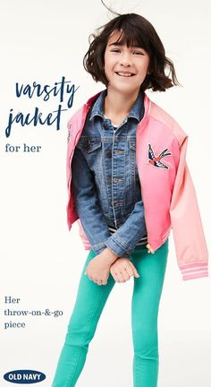 Be the star player with Old Navy's Varsity Bomber Jacket for girls. It's lightweight and versatile enough to pair with almost any outfit. With unbelievably affordable prices, Old Navy is the place to go for popular styles and trends for girls!