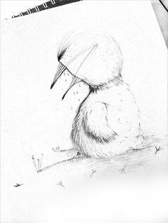 Daily Sketch #4 Sad Bird by egleillustration.deviantart.com on @DeviantArt