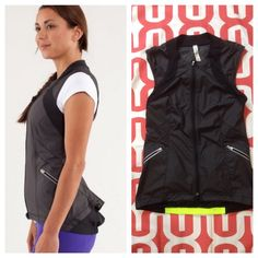Lululemon Presta Vest Black. 'Like new' condition. Cycling vest with dropped back for coverage with the rubber coated elastic for grip. E-Glyde coated with DWR and mesh fabrication. Two front zip pockets. Reflective details. Back flounce. No trades. No PayPal. lululemon athletica Jackets & Coats Vests