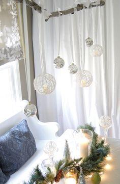 Lovely yarn ball chandelier DIY
