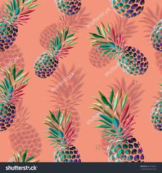 Seamless colorful pineapple pattern