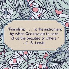 """Friendship… is the instrument by which God reveals to each of us the beauties of others."" ~ #CSLewis"