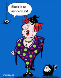 Funny gag cartoon featuring Wizzy Witch - fashionista she is!