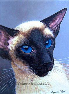 LARGE LTD EDITION SEALPOINT SIAMESE CAT PORTRAIT PAINTING PRINT SUZANNE LE GOOD