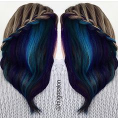 """Hair Secret!  Hidden colorful panel  revealed by a creative braid by @jeanette.herrera @hugosalon #hotonbeauty"""