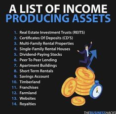 Income Producing Assets - Success - Start investing in these to generate passive income! Multiple Streams Of Income, Income Streams, Peer To Peer Lending, Mo Money, Money Tips, Wealth Creation, Business Money, Business Advice, Investing Money