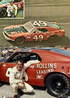 David Pearson in a mustang stock car Mel Joseph construction / Georgetown de. Rollins Leasing Wilmington de. on left rear quarter panel.