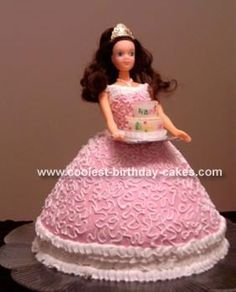 Princess with Birthday Cake: I made this princess Barbie cake for my daughter's 4th birthday party. I used some ideas from this website and some tips I learned in the Wilton books.