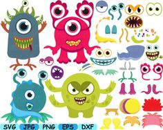 Props Cute Monsters Cutting Files svg Animals Face faces illustration Digital eps png dxf jpg Clip Art Vector Graphics Clipart -159s by HamHamArt on Etsy https://www.etsy.com/listing/273759806/props-cute-monsters-cutting-files-svg
