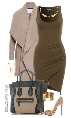 """Date Night"" by highfashionfiles on Polyvore featuring Harris Wharf London, CÉLINE, Christian Louboutin, Jennifer Fisher and Brooks Brothers"