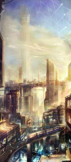 Landscape concept art sci fi deviantart 42 Ideas for 2019 Ville Cyberpunk, Cyberpunk City, Futuristic City, Futuristic Architecture, Fantasy City, Fantasy Places, Landscape Concept, Fantasy Landscape, Landscape Art