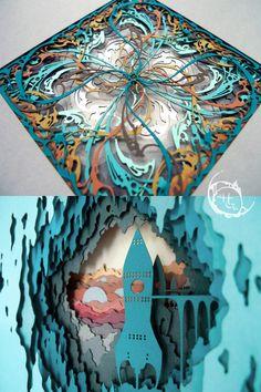 Cut Out Art, Laser Cut Paper, Shadow Box Art, Paper Illustration, Up Book, Paper Artist, Dark Wallpaper, Felt Art, Paper Quilling