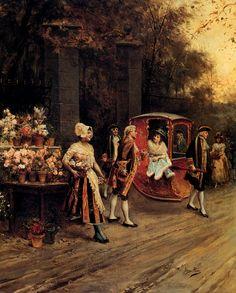 Alonso Pérez «Flowers for the Lady Classic Paintings, Great Paintings, Painter Artist, Artist Art, Flowers For Sale, Art Ancien, Romantic Scenes, Spanish Painters, Alonso