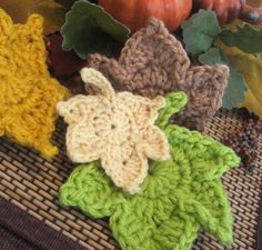 Fast and Easy Autumn Leaves Crochet PATTERN set by susanlinnstudio