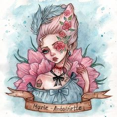 Marie-Antoinette Art Print by Black Fury - X-Small Arte Tim Burton, Anime Manga, Anime Art, Digital Art Girl, Art Drawings Sketches, Medan, Art Challenge, Watercolor Paintings, Watercolor Paper
