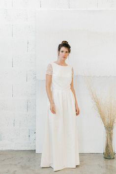 13a1a119b97c34 romane robe de mariée 2 pièces pour un modèle simple et élégante