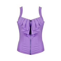 FRILL DETAIL ZIP FRONT TOP (170 HRK) ❤ liked on Polyvore featuring tops, shirts, tank tops, ruffle tank, ruffle shirt, purple ruffle top, zip front shirt and ruffle tank top