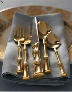 OBJects of Desire   5 Home Design Trends for 2017: Gold-Plated Mid-Century Bamboo Flatware. Photo via Pinterest