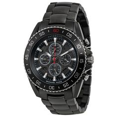 Iconic designer Michael Kors is one of the top names in American fashion, with fashion forward styles and bold designs. This men's watch from the Jetmaster collection features a black stainless steel