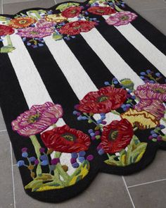 MacKenzie-Childs Poppy Field Rug handmade and hand sculpted of wool and viscose. Mackenzie Childs Inspired, Mckenzie And Childs, Decoupage, Floor Cloth, Boho Home, Hand Tufted Rugs, Rug Hooking, Hand Knotted Rugs, Woven Rug