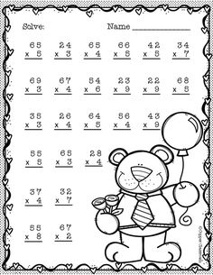 Need extra practice with multiplication? This set includes 10 pages of 2 digit by 1 digit multiplication with regrouping practice. An answer key for each page is included. Thanks for stopping by Copper Classroom. Math Practice Worksheets, Math Resources, Math Activities, Two Digit Multiplication, Multiplication Worksheets, Math Drills, Math Sheets, School Site, 4th Grade Math