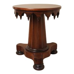 American Gothic Style. Large Fluted Column Supports a revolving adjustable seat.