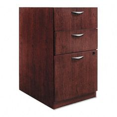 Basyx : Three-Drawer Pedestal File, 15-5/8w x22d x 27-3/4h, Mahogany -:- Sold as 2 Packs of - 1 - / - Total of 2 Each by Basyx. $695.98. Basyx : Three-Drawer Pedestal File, 15-5/8w x22d x 27-3/4h, Mahogany  Not freestanding, attaches under worksurface. Hardwood veneer surfaces protected with catalyzed lacquer. Full-extension file drawer accommodates letter/legal filing. Lock keeps contents safe. Global Product Type: File Cabinets; File Cabinet Type: Pedestal; Fil...