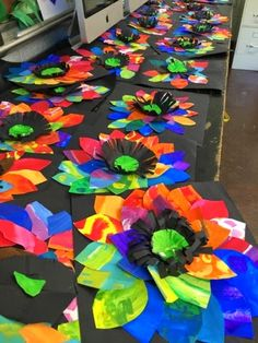 Painted paper flowers, 2nd grade